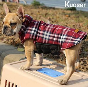 Kuoser Cozy Waterproof Windproof Reversible Plaid Dog Vest