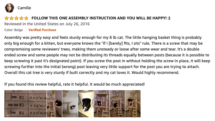 Go Pet Club Cat Tree review by Camille on Amazon