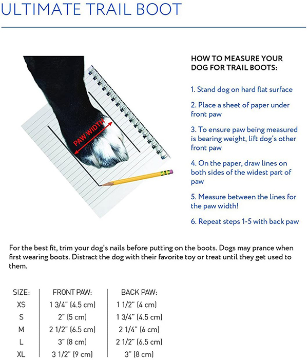 Canine Equipment Trail Dog Boots Size Guide