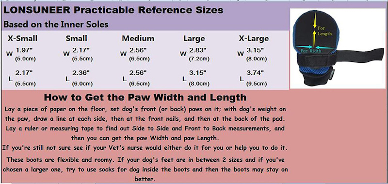 LONSUNEER Paw Protector Dog Boots Size Chart