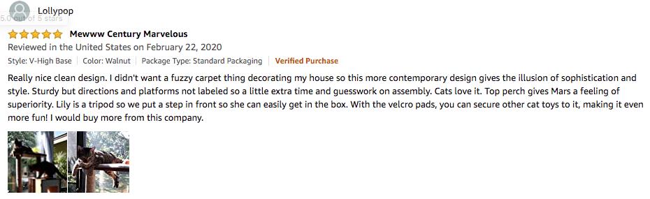 Lollypop's review of VESPER cat tree