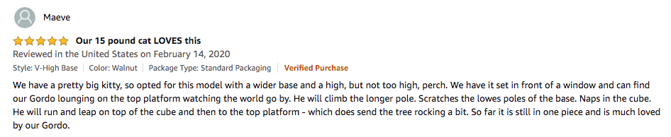 Maeve's review of the VESPER cat tree