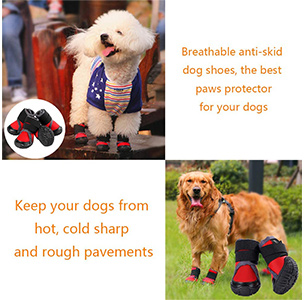 Petilleur Breathable Dog Hiking Shoes Pet Paws Protector Anti-Skid Dog Boots Durable Pet Hiking Shoes
