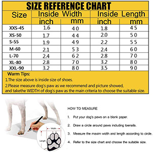 Petilleur Breathable Dog Hiking Shoes for Hot & Sharp Pavement Pet Paws Protector Sizing Chart