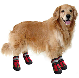 QUMY Dog Boots Waterproof Shoes for Dogs with Reflective Velcro Rugged Anti-Slip Sole