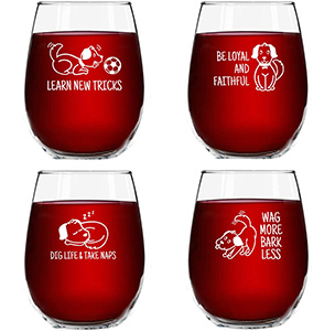 Dog Wisdom Novelty Stemless Wine Glasses Set of 4