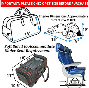 Mr Peanuts soft sided pet carrier dimensions