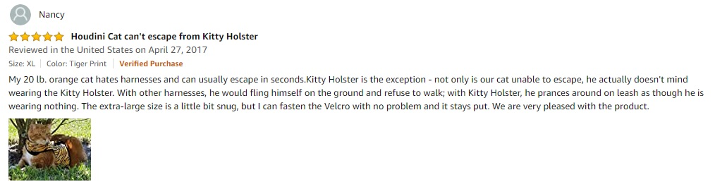 Kitty Holster Cat Harness User Review
