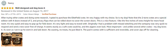 Nancy - Elitefield Soft Pet Carrier Review