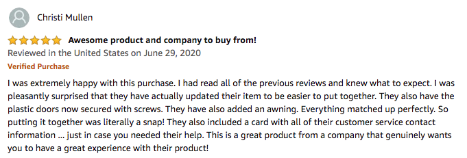 Christi Mullen's product review