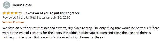 Donna Hasse's review of this kitty house