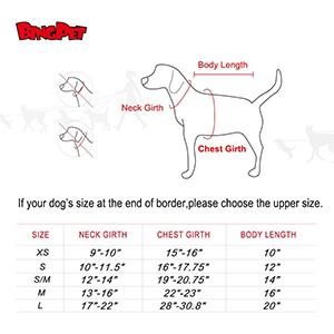 BINGPET Dog Sweater Sizing Chart