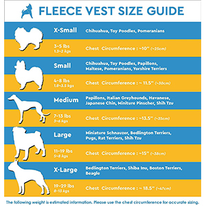 Gooby Dog Vest Sizing Guide