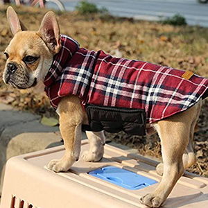 Kuoser Cozy British Style Plaid Dog Vest Winter Coat