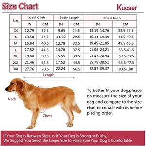 Kuoser Dog Vest Size Chart